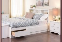Full Size White Storage Bed With Bookcase Headboard