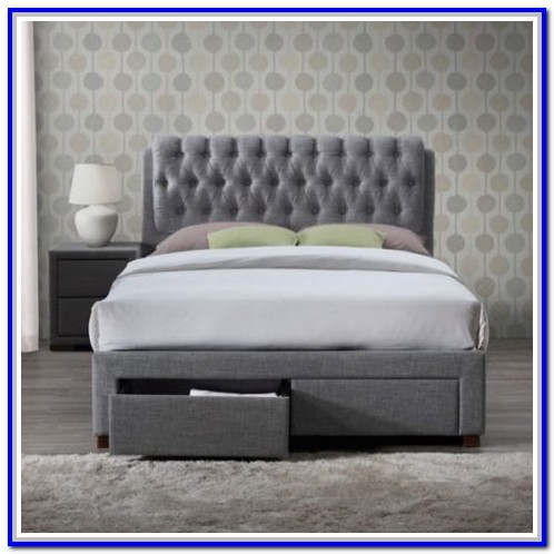 Grey Fabric Bed Frame With Drawers