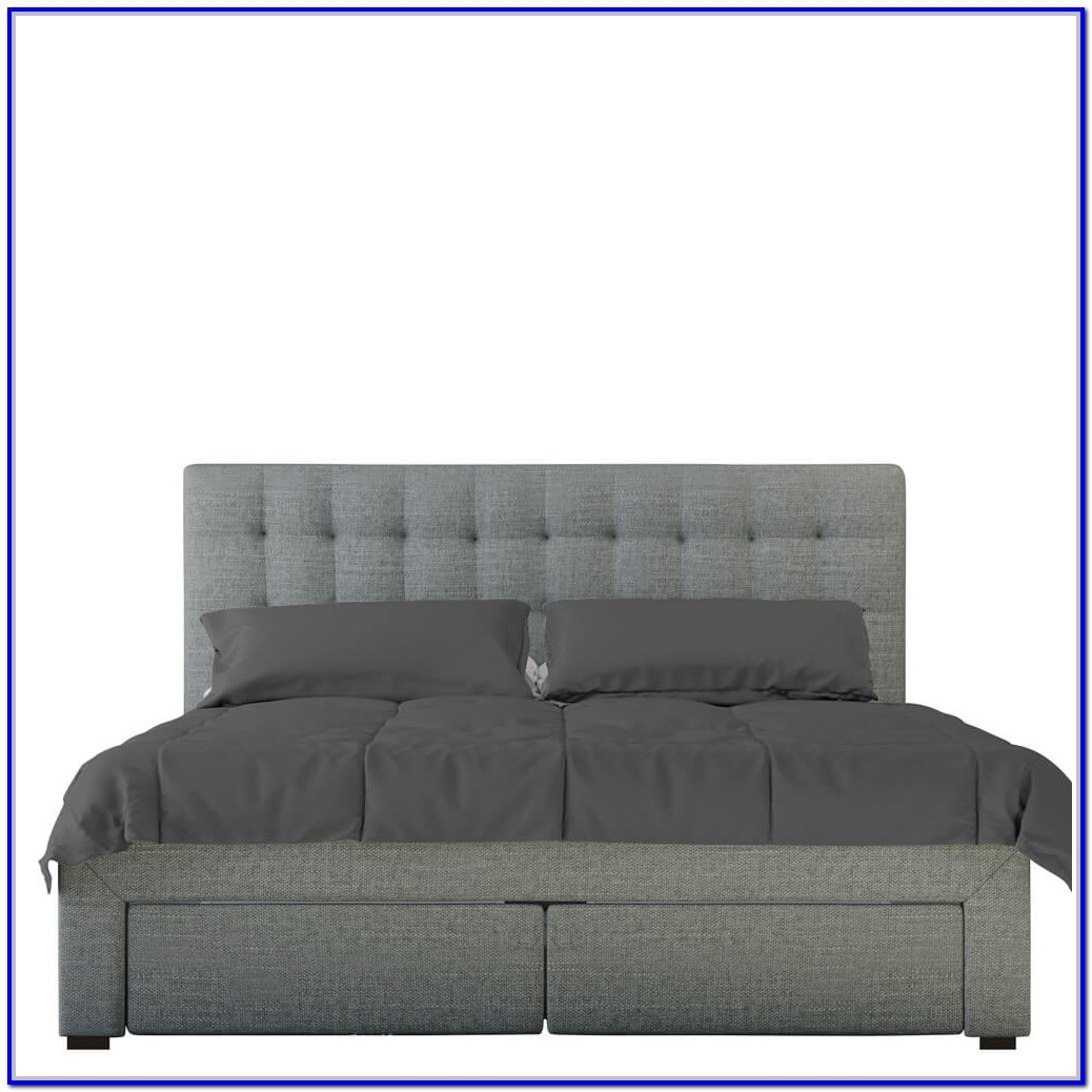 Grey Fabric Bed Frame With Storage