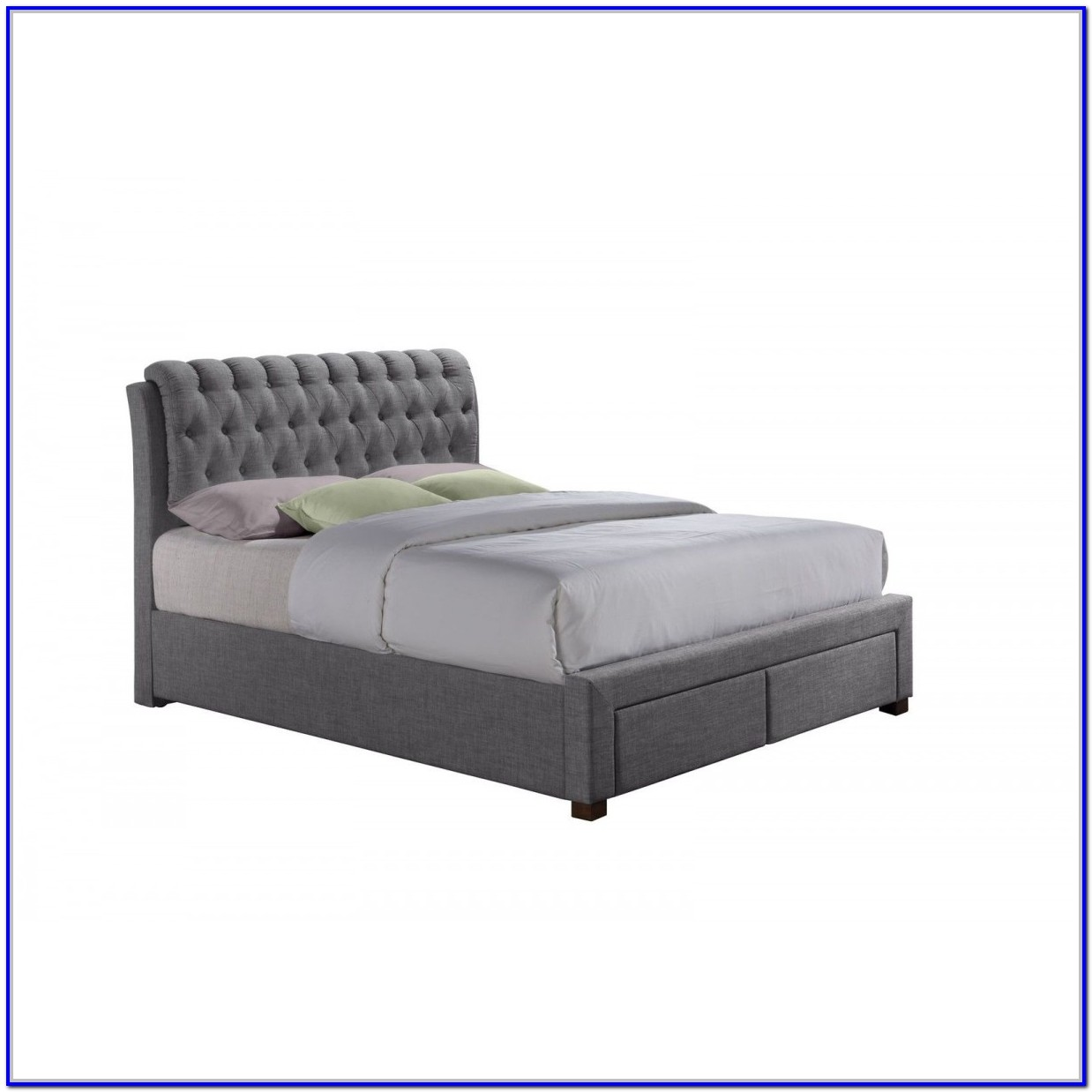 Grey Fabric Double Bed Frame With Storage