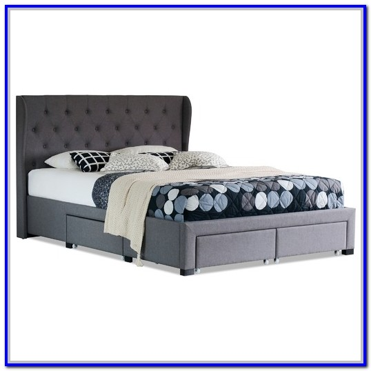 Grey Upholstered Bed Frame With Drawers