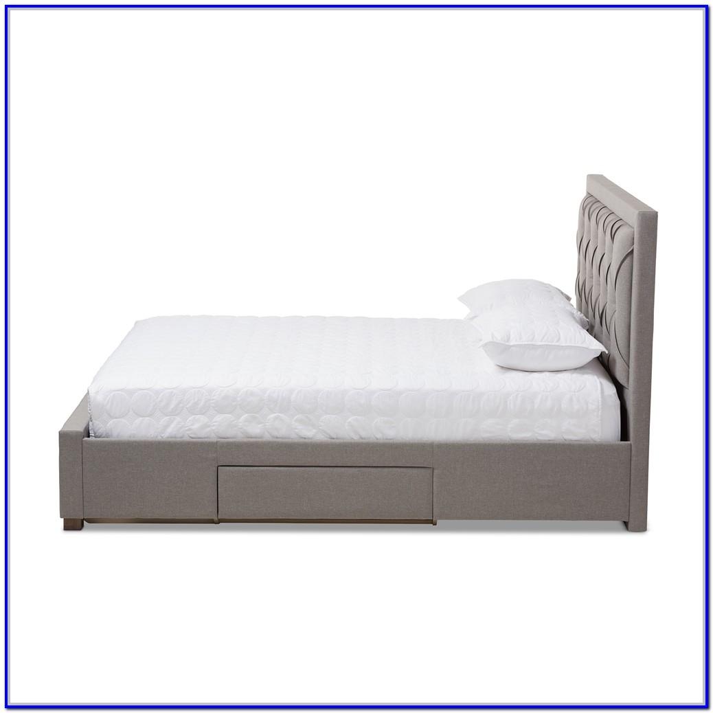 Light Grey Upholstered Storage Bed