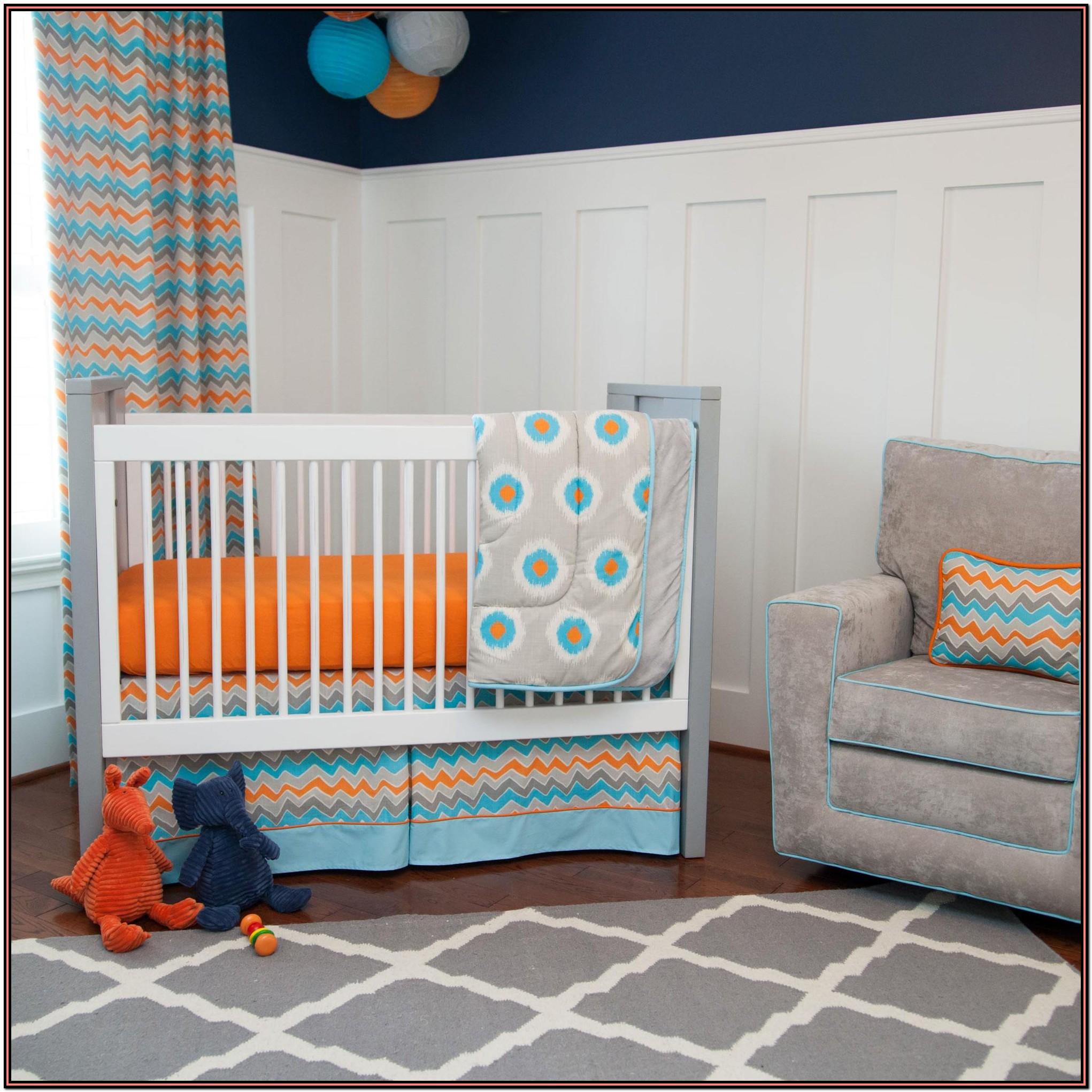 Orange And Grey Crib Bedding
