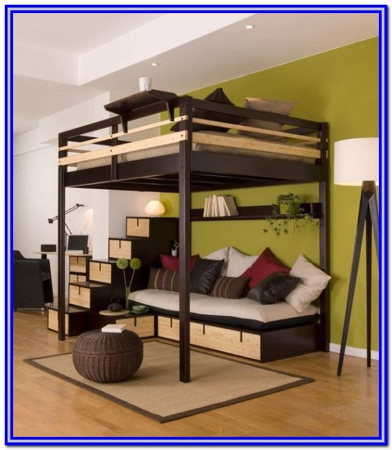 Queen Size Loft Bed With Desk For Adults