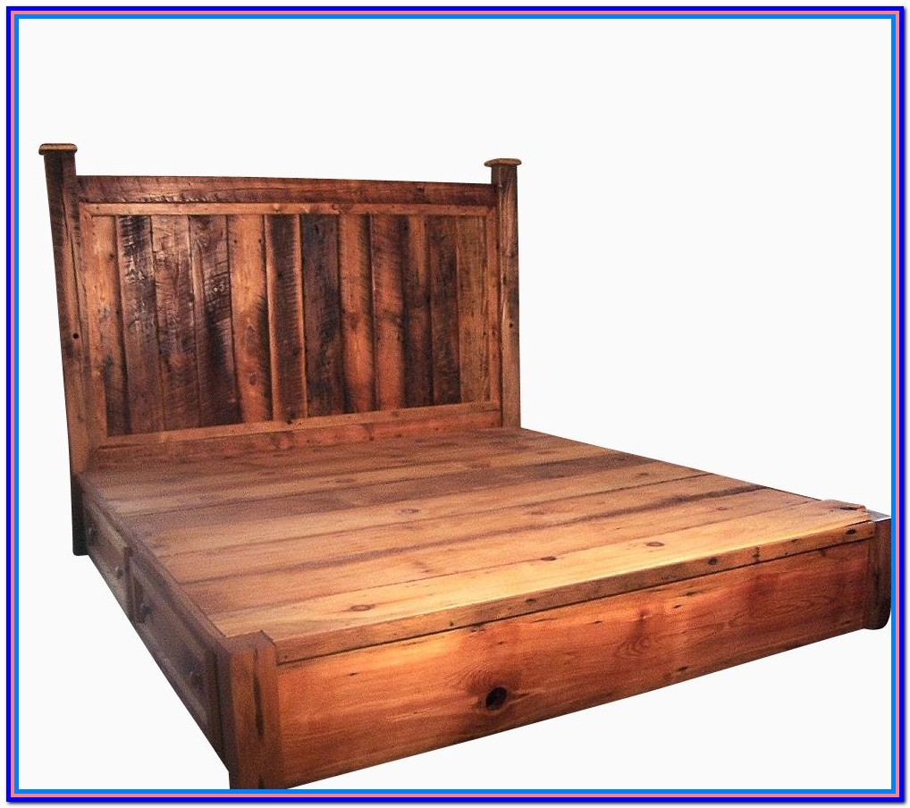 Rustic Wood Bed Frame And Headboard