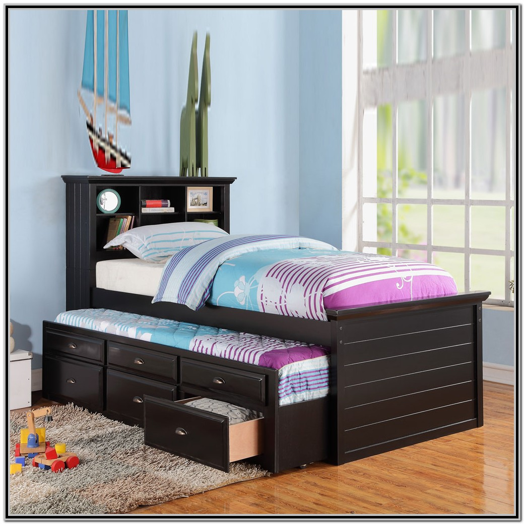 Trundle Bed With Storage Headboard
