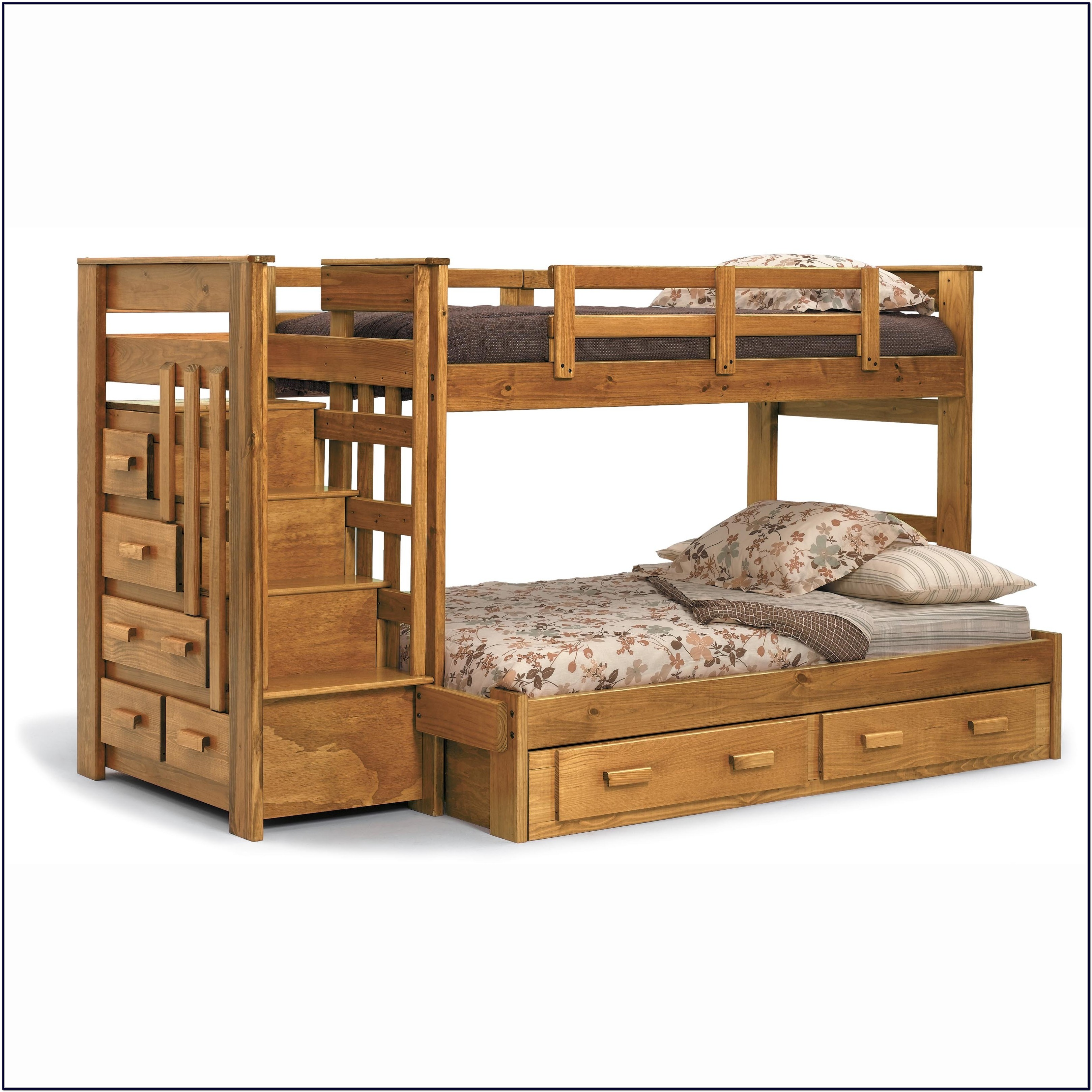Twin Over Full Wood Bunk Bed With Stairs