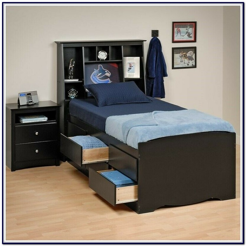 Twin Platform Bed With Drawers And Headboard
