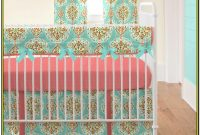 Aqua And Coral Crib Bedding