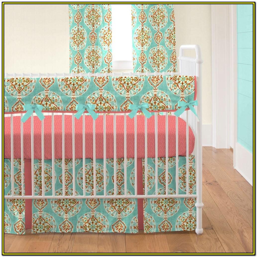 Aqua And Coral Crib Bedding