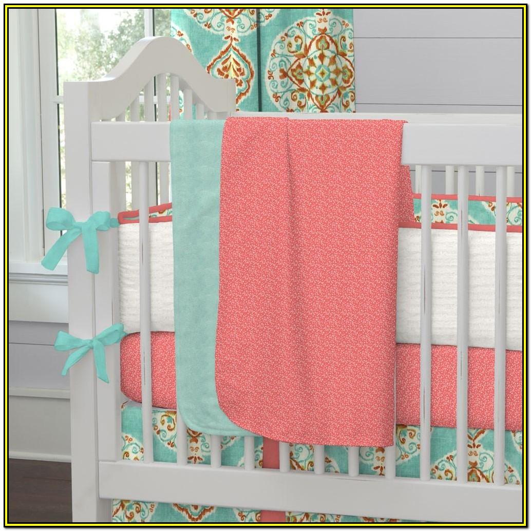 Coral And Aqua Nursery Bedding