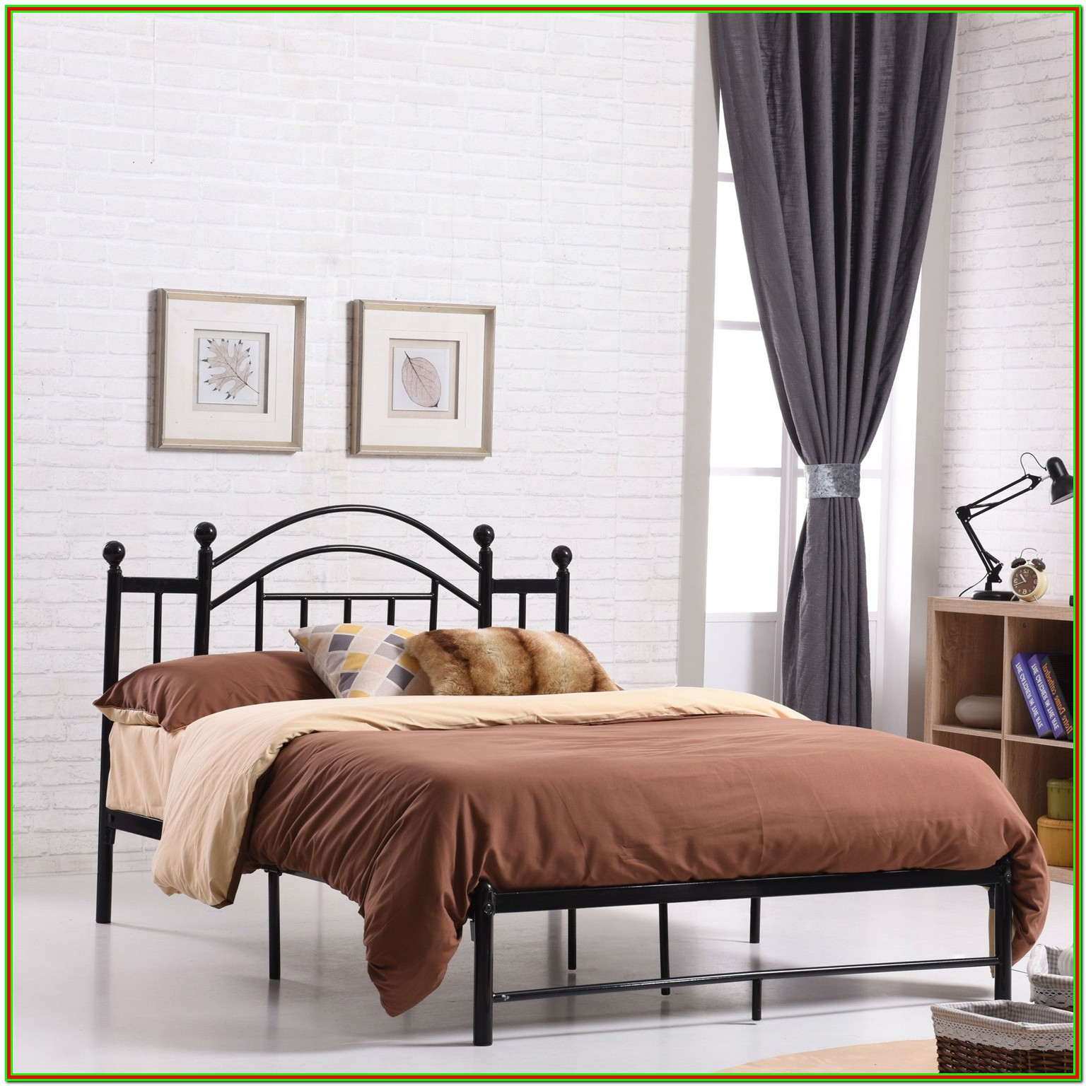 Full Bed Frame With Headboard Black