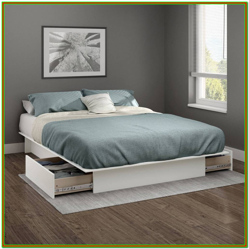 Full Bed Frame With Headboard White