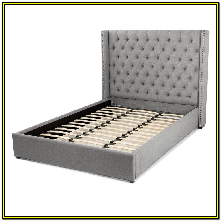 Gray Tufted Bed Frame Queen