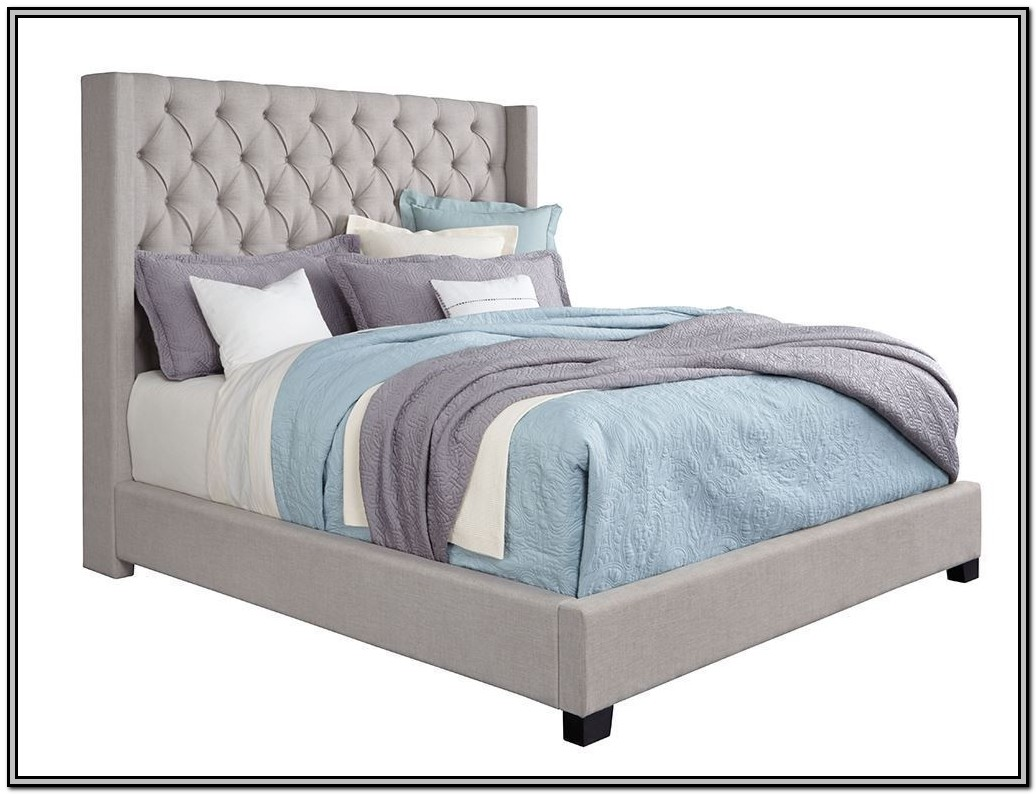 Grey Upholstered Bed King Single