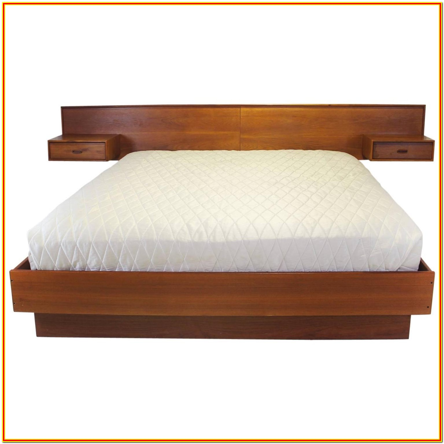 Modern Bed With Attached Nightstands