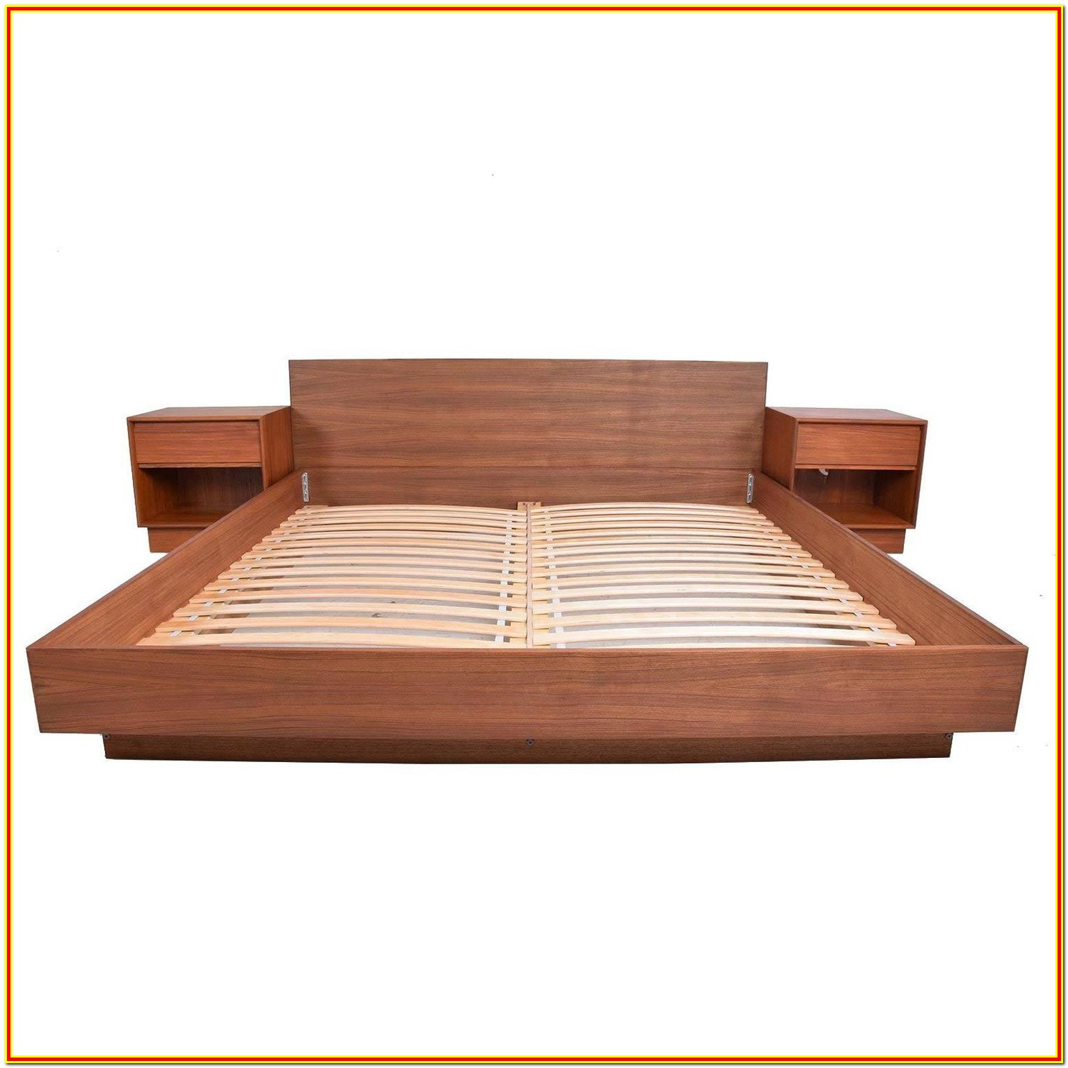 Modern Platform Bed With Attached Nightstands