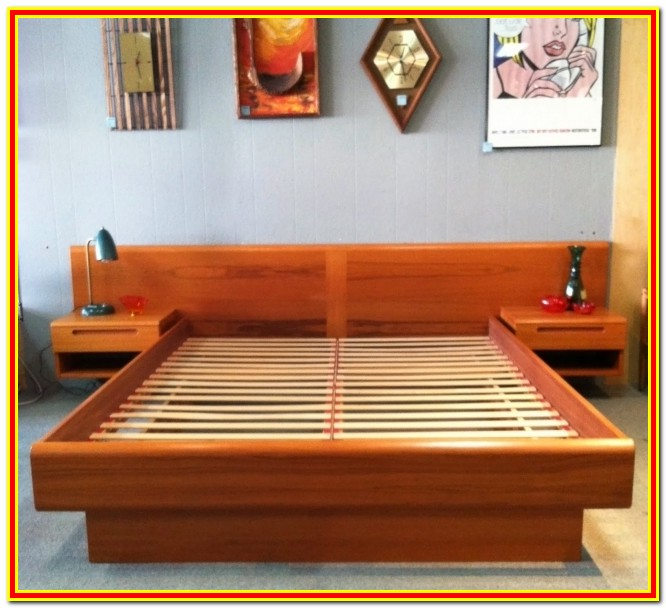 Platform Bed With Attached Nightstands