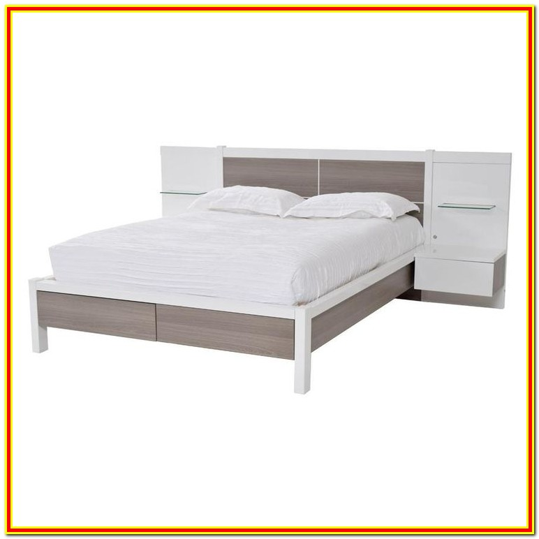 Storage Bed With Attached Nightstands