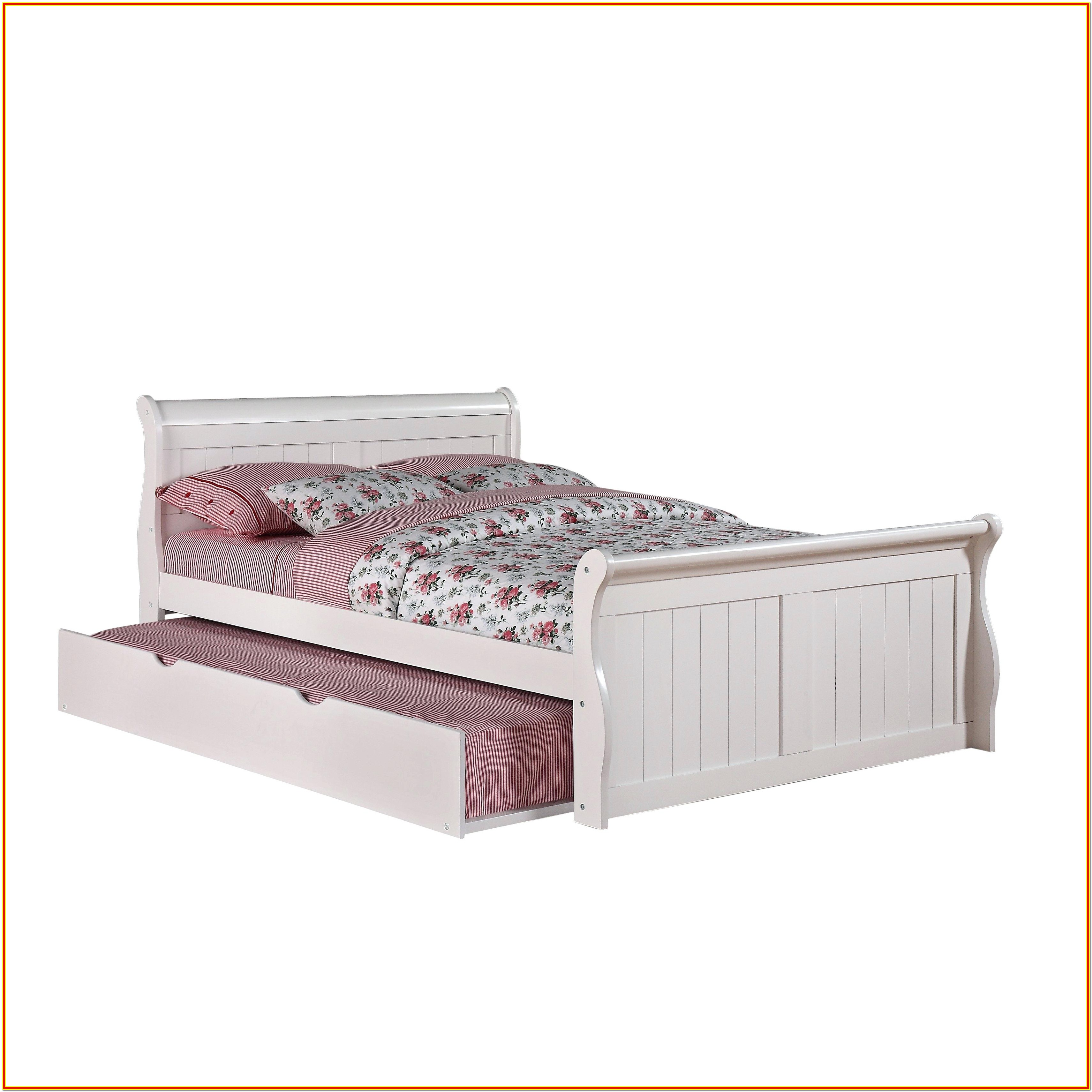 White Full Size Bed With Twin Trundle