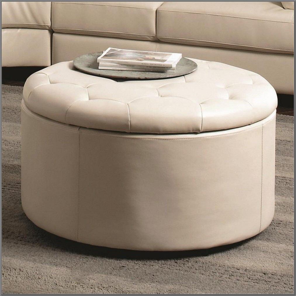White Round Ottoman Coffee Table