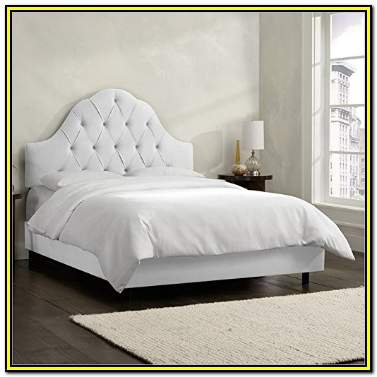 White Tufted Bed Frame Queen
