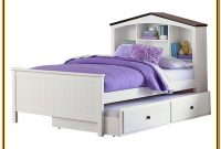 White Twin Trundle Bed With Bookcase
