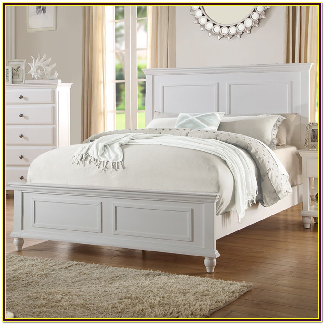 White Wooden Queen Bed Frame Bedroom Home Decorating